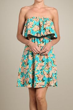 Strapless Short Mini Sundress - Mint