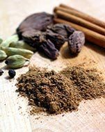 DIY - Garam Masala - in Indian cuisine, just means spices or mix of spices, although it does sometimes refer to the sauce the spices are used in...The mix is different in every household, but usually includes the warm flavors of cinnamon and cardamom.  (She) uses cinnamon, cardamom, cloves, cumin, coriander, nutmeg, and pepper....