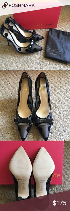 Kate Spade Lisa heels Never worn • Original box and dust cover included • Black mesh with patent leather trim • Black polka dots • Women's size 6.5 Wide • Heel approximately 4 inches • Minimal wrinkling inside right shoe from trying on • Made In Italy • No trades Kate Spade New York Shoes Heels
