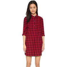 Madewell Jane Plaid Flannel Shirtdress (4,485 DOP) ❤ liked on Polyvore featuring dresses, flannel dress, long sleeve shirt dress, red plaid dress, long sleeve dress and button shirt dress