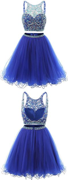 Royal Blue Prom Dresses Two Piece, Short Prom Dresses For Teens 2018, A-line Prom Dresses Backless, Scoop Neck Tulle Cocktail Party Dresses Beading
