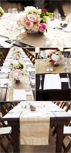 Love the burlap table runner on a long kings style table.  Also really like the flowers & colors of the centerpieces.