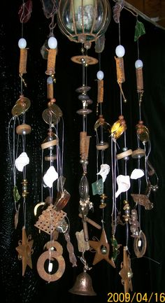 3D Sculpture Art WindChime Created and Designed with Found Objects & Assemblage  handmade by Paige with Evolution Flair