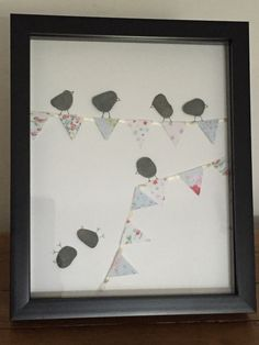Bunting birds handmade Pebble Art picture by CrookedHalouk on Etsy