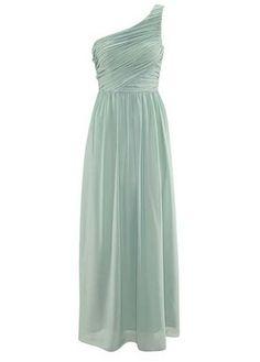 Long Style One Shoulder Light Green Women Dress  //  white & blue