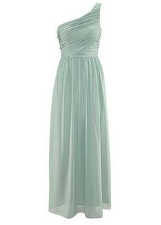 Long Style One Shoulder Light Green Women Dress