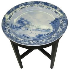 ANTIQUE BOCH FRERES DELFT STYLE BLUE & WHITE CHARGER ON STAND    $1100
