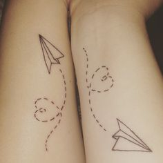 Pin for Later: 55 Creative Tattoos You'll Want to Get With Your Best Friend Paper Planes