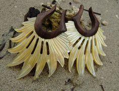 Fake Gauge Earrings Tribal Style Mother of pearl by ANELAJADE, $22.00
