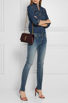 Saint Laurent - Monogramme Kate Medium Textured-leather Shoulder Bag - Merlot - one size Ysl Kate Bag, Ysl Bag, Saint Laurent Shirt, Casual Outfits, Cute Outfits, Fall Fashion 2016, Women's Fashion, Cloth Bags, Fashion Pictures