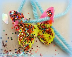 Color My Bliss: Preschool Art: Butterfly Necklaces with Glitter