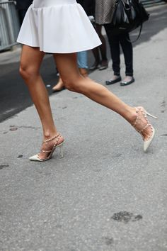 Perfect white mini & studded pointy-toed heels.