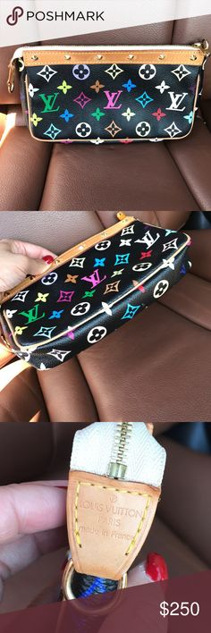 💥LV MULTICOLORED CROSSBODY POCHETTE💥 100% AUTHENTIC. Can be worn as clutch or wallet/crossbody. No trades. $280 via P A Y P A L or Google Wallet due to posh fees. No trades. I can include a strap but it's not lv strap. Louis Vuitton Bags Crossbody Bags
