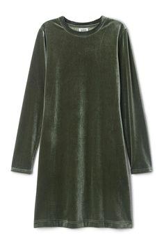 Fray Velvet Dress - Khaki Green - Dresses & Jumpsuits - Weekday