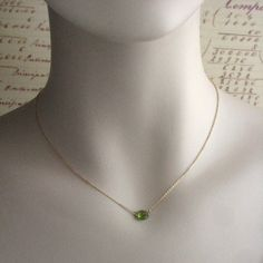 Peridot Necklace in Gold Fill Simple Peridot by ShopSomethingBlue