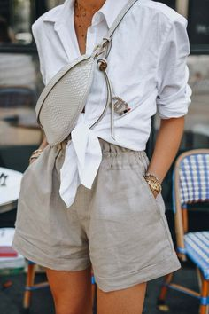 summer outfits women style inspiration simple, Easy summer way to style your favourite linen pieces. White Button-Down Shirt with beige linen short, summer outfits women casual fashion ideas color combos Mode Outfits, Fashion Outfits, Fashion Clothes, Dress Outfits, Fashion Belts, Fashion Stores, Fashion Watches, Feminine Mode, Feminine Fashion