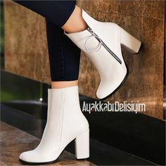 heeled shoes - Halkas Beyaz Kalın Topuklu Bot - Apocalypse Now And Then Thick Heel Boots, Thick Heels, Heeled Boots, Ankle Boots, Prom Shoes, Shoes Heels, Pumps, Fashion Magazin, White Boots