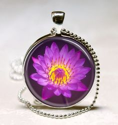 Purple Lotus Flower Handcrafted Glass Tile Jewelry Necklace Pendant