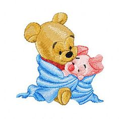 Shoply.com - Baby Pooh and Baby Piglet Machine Embroidery Design in 4 sizes - MUST SEE. Only $3.99