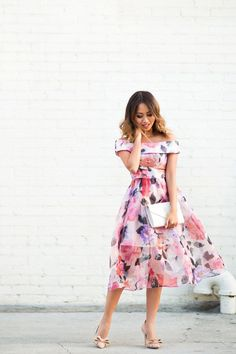lace and locks, petite fashion blogger, off the shoulder floral dress, wedding guest dress, bow pumps, spring dresses