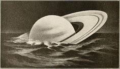 Antique illustration showing how Saturn would float in water if there were a ocean big enough to hold it. Saturn, the sixth planet from the Sun, has beautiful rings omposed of ice particles. It is the second largest planet in the Solar System, yet it. Photo, Floating, Pics, Illustration, Image, Art, Pictures, Floating In Water, Ocean