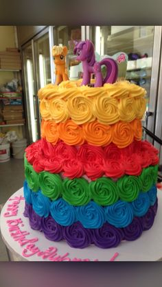 Two tier rainbow rosette cake Rainbow Dash Cake, Rainbow Dash Birthday, Rainbow Food, Rainbow Sprinkles, Rainbow Cakes, Multi Color Cake, Birthday Cake For Mom, Pony Cake, Rosette Cake