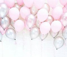 Pink & Silver Balloons, Great for Baby Shower party, birthday girl, Ballerina party, Princess party and all your girly parties and celebrations. Pink Birthday, Happy Birthday Wishes, 16th Birthday, Birthday Balloons, Birthday Greetings, Birthday Balloon Surprise, Birthday Month, Ballon Rose, Deco Ballon