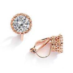 Rose Gold Crown Setting Clip-On 2.0 Carat Round Solitaire Cubic Zirconia Stud Earrings