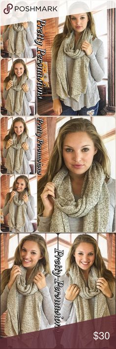 """NWT Beige Cozy Knit Scarf NWT Beige Cozy Knit Scarf  Size: OS  Measurements Length: 90"""" Width: 22""""  Acrylic Blend   This heathered longline knit scarf is the ultimate cold weather essential. Long enough to wrap around or lay flat, this versatile scarf will keep you warm and stylish!  * Also available in Burgundy & Gray in separate listings  Bundle discounts available  No pp or trades  Item # 1/109240300GSW Pretty Persuasions Accessories Scarves & Wraps"""