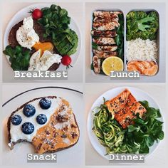 Healthy meal plans - 🇺🇸 New Day of Eats ❄️ As I've got many requests after the first one early this week, I thought I'd make a new one 🙂 Here's an example of a typical work day in my plate, when I h Healthy Meal Prep, Healthy Snacks, Healthy Eating, Healthy Recipes, Meal Recipes, Healthy Drinks, Healthy Food Plate, Vegetarian Recipes, Meal Prep