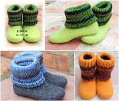 Crochet Patterns Socks You like to knit + felt and need warm slippers // House boots with Ums . Felted Slippers, Crochet Slippers, Knitting Patterns, Crochet Patterns, Felt Boots, Patterned Socks, Diy Clothing, Doll Clothes Patterns, Knitting Socks