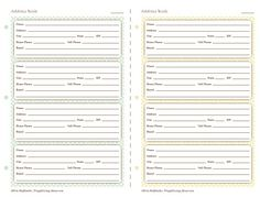 Printable Address Book Organizer  Pdf  Free Printable Books And