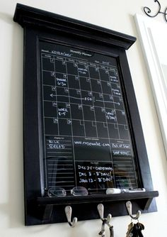 Wall Decor Black Dry Erase Calendar Family Kitchen or by Rozemake