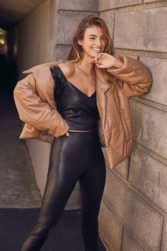 Chic Black Leggings - Vegan Leather Leggings - Cropped Leggings - Lulus High Waisted Leather Leggings, Leather Crop Top, Leather Mini Dress, Leather Pants, Cute Dresses, Cute Outfits, Satin, Selfie, Portrait