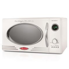 Nostalgia Retro Cubic Foot Countertop Microwave Oven, 5 Power Levels and 12 Cook Settings, LED Display, Ivory Specialty Appliances, Small Appliances, House Appliances, Best Small Microwave, Led Display Lighting, Countertop Microwave Oven, Countertop Microwaves, Nostalgia, Anam Cara