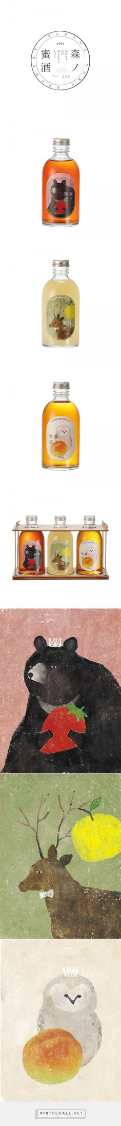 Label design for liqueur on Behance bu Akira Kusaka, Osaka, Japan curated by Packaging Diva PD. Yamana sake brewery illustrated packaging is just sooo cute. Art Direction, graphic design, illustration.