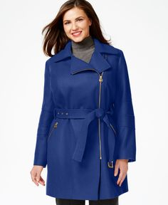 Michael Michael Kors Plus Size Asymmetrical-Zip Belted Coat