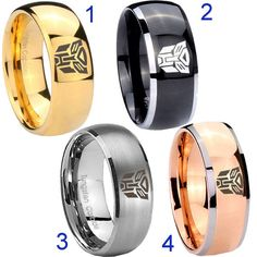 Tungsten Transformers Autobot 8MM Dome Gold IP Black Silver Rose Men's Wedding Ring Size 7 to 14