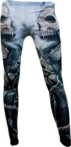 ✝☮✿★ SKULL LEGGINGS ✝☯★☮ Flaming Spine Leggings Spiral Direct - Leggings | RebelsMarket