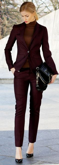 Burgundy Suit Holiday Style Inspo by Beauty - Fashion - Shopping women fashion outfit clothing style apparel @roressclothes closet ideas