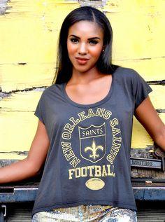 d7365403c88 Saint's Team Baggy T-shirt top Nola Print stretchy Fleur De Les top NWTS  Team