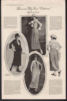 1919 Irene Castle Outdoor Dress Fashion Harry Collins Sexy Beauty Model Art Ad | eBay