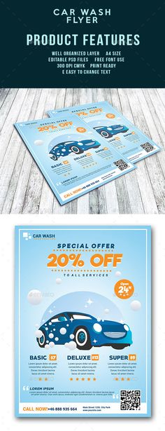 Car Wash Flyer Design Template - Corporate Flyers Template PSD. Download here: https://graphicriver.net/item/car-wash-flyer-template/17926334?ref=yinkira