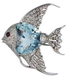 Brooch made of 18K white gold with aquamarine and diamonds, by unknown author