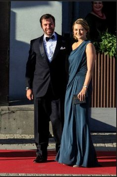 Prince Guillaume of Luxembourg and Her Royal Highness Crown Princess Stephanie of Luxembourg arrive at a private dinner on the eve of the wedding of Princess Madeleine and Christopher O'Neill hosted at The Grand Hotel on 2 June 2013 in Stockholm, Sweden.