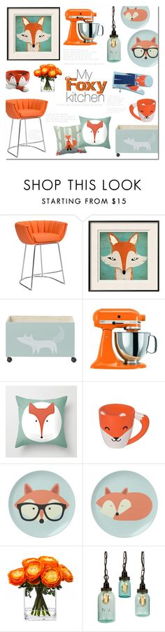 """""""My Foxy Kitchen"""" by alexandrazeres ❤ liked on Polyvore featuring interior, interiors, interior design, home, home decor, interior decorating, Zuo, Bloomingville, KitchenAid and Donna Wilson"""