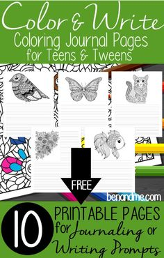Free coloring journal pages for use with writing prompts or journaling.