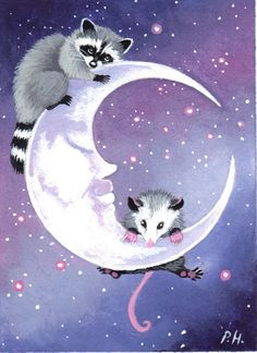 aceo print opossum raccoon moon by WoundedTreeGallery on Etsy~ This must've been inspired by my neighborhood. Lol.