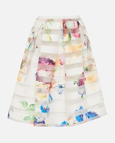 Tapestry Floral burnout skirt - Pale Yellow | Skirts | Ted Baker