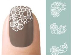 Black and White Lace Nail Art Water Decals Transfers